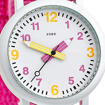 JOBO children wrist watch pink quartz analog aluminium stainless steel watch