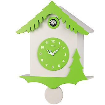 Quartz wall clock wall clock Quartz White cuckoo clock pendulum wooden cabinet and painted green