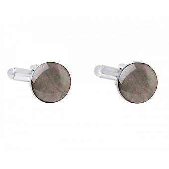 Herren - Manschettenknöpfe – 925 Silber – Perlmutt – Grau – 12 mm