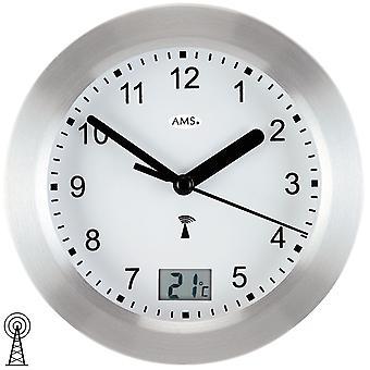 Bathroom clock wall clock aluminium front Frost silver waterproof bathroom clock