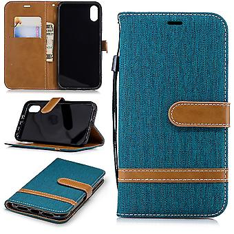 Housse étui case Apple iPhone XR téléphone portable sac de protection affaire compartiment poche portefeuille vert