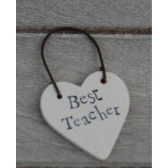 East of India Best Teacher Wooden Heart Gift Tag