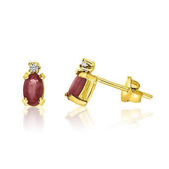 LXR 14K keltainen kulta soikea garnet ja timantti korvakorut 0.25ct