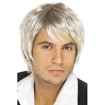 Lyhyt blondi & Brown Parted peruukki, Boy Band peruukki, naamiaispuku lisävaruste