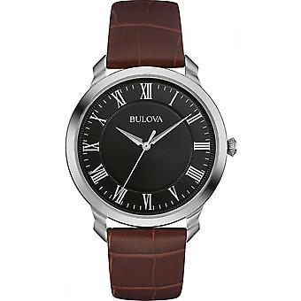 Montre 96A184 Bulova Classic hommes cadran noir en cuir marron bracelet
