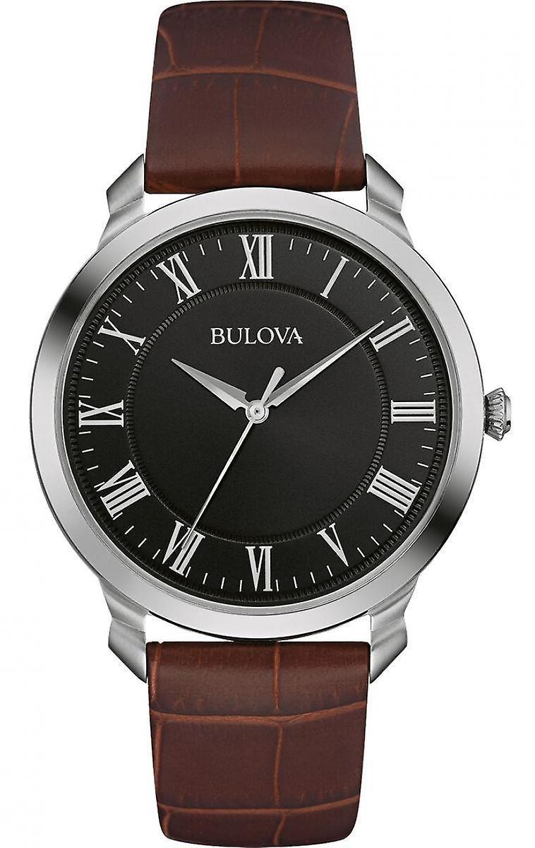 Bulova Classic Black Dial Brown Leather Strap Men's Watch 96A184