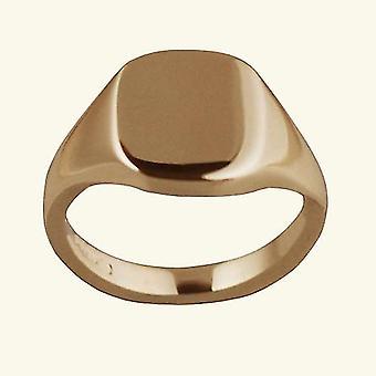 9ct Rose Gold 12x10mm tömör sima párna Signet Ring méret S