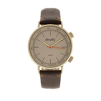 Simplify The 3300 Leather-Band Watch - Dark Brown/Gold
