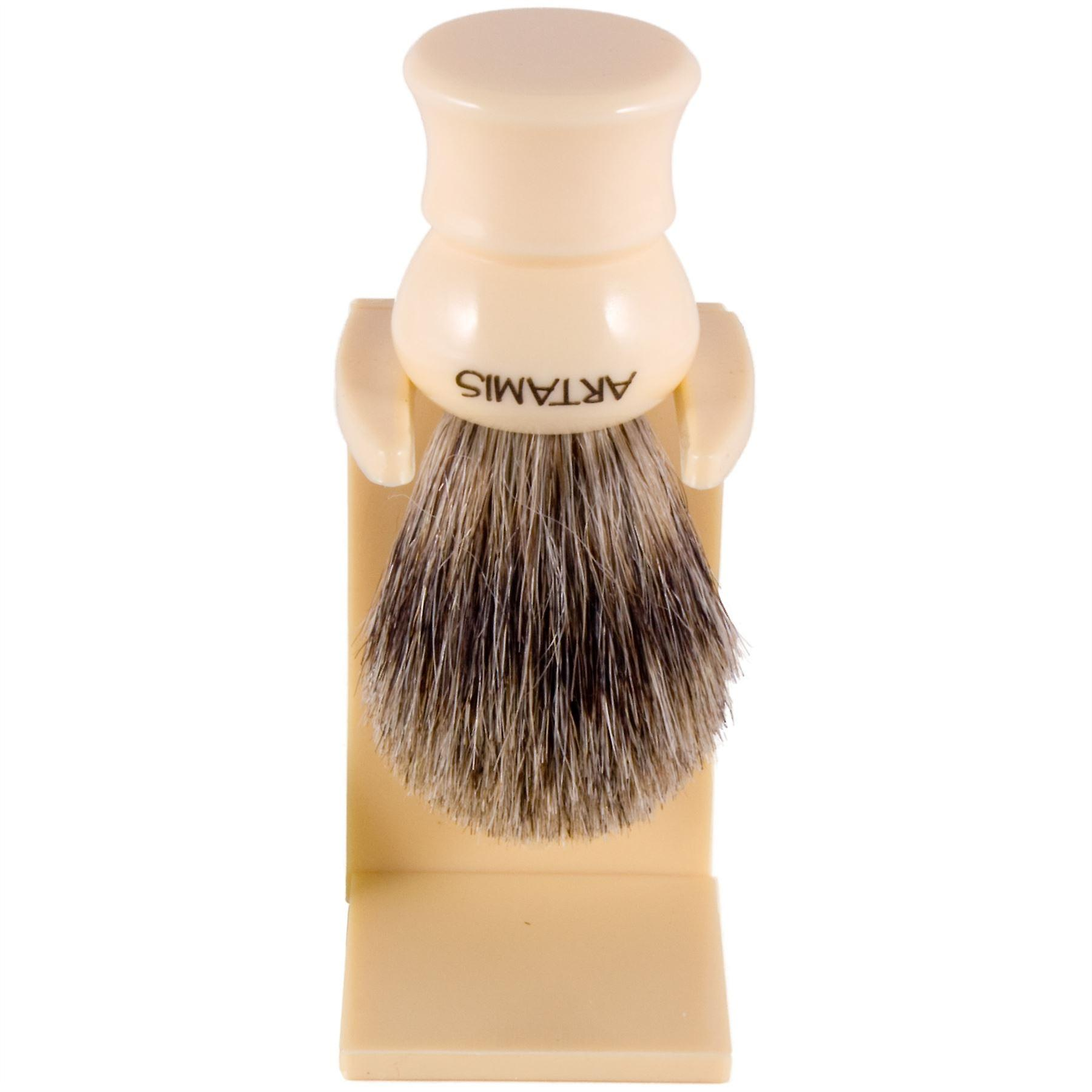 Artamis Pure Badger Hair Small Shaving Brush with Drip Stand - Ivory Colour