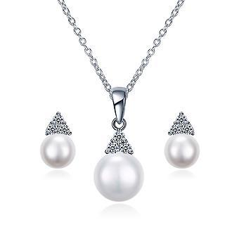925 Sterling Zilver driehoek parel sieraden Set
