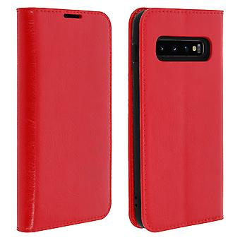 Business leather book case, stand case for Samsung Galaxy S10 Plus - Red