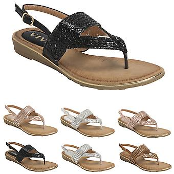 Womens Slingback Summer Strappy Diamante Toe Post Cut Out Wedge Sandals UK 3-8