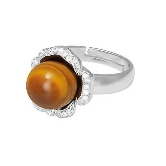 Eternal Collection Supreme Tiger's Eye And Cubic Zirconia Sterling Silver Adjustable Ring