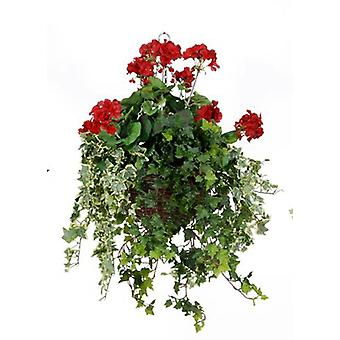 Artificial Silk Geranium Large Hanging Basket