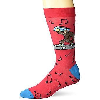 Men's Crew Socks - K Bell - Bigfoot Boombox Red (10-13)