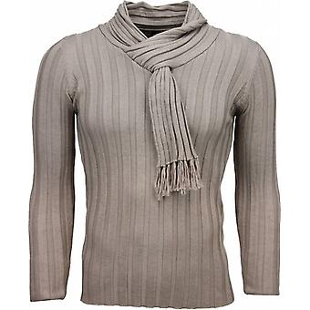 Casual Sweater-shawl collar Design stripes motif-Beige