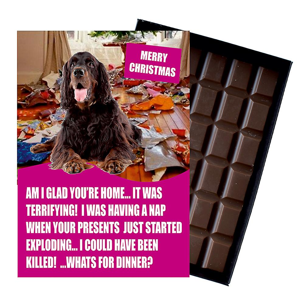 Gordon Setter Funny Christmas Gift For Dog Lover Boxed Chocolate Greeting Card Xmas Present