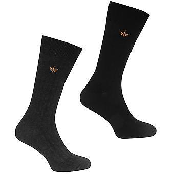 Firetrap Mens 2 Pack Cable Knit Socks