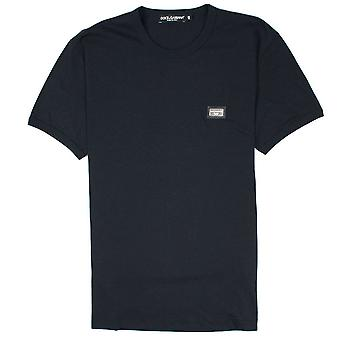 Dolce & Gabbana Metall Logo Rundhals T-Shirt schwarz