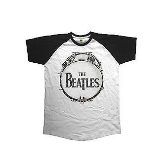 Het logo van Beatles T Shirt originele Vintage Drum nieuwe officiële Mens wit Raglan