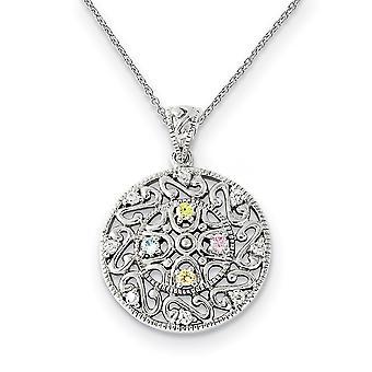 925 Sterling Zilver gepolijst Gift Boxed Spring Ring Rhodium verguld CZ Cubic Zirconia Gesimuleerde Diamond Bliss 18inch Nek
