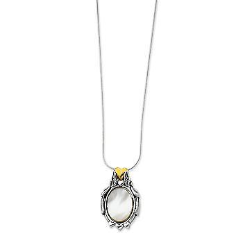 925 Sterling Silver Polished Spring Ring com Simulado Mãe de Pérola Religiosa Guardiã Colar Anjo 18 Polegadas Joias