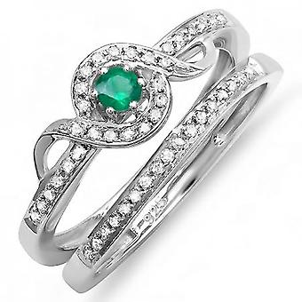 Dazzlingrock Collection Sterling Silver Round White Diamond et Emerald Bridal Promise Ring Set Matching Band