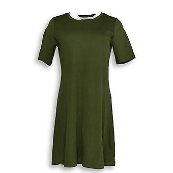 Isaac Mizrahi Live! Petite Dress XS Essentials Pima Dark Green A351508