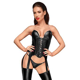 Wet Look Suspender Corset With Embroidery