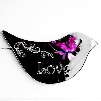 Floral Dove Acrylic Mirror Door or Wall Sign - LOVE
