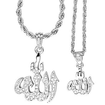 Iced out bling mini chain pendant set - 2 x ALLAH silver