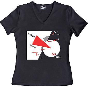 Schlagen Sie die Weißen mit dem roten Keil V-Ausschnitt schwarz Frauen's T-Shirt