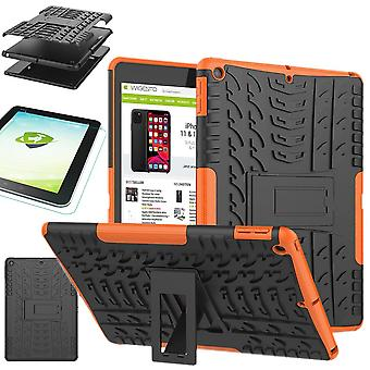 For Apple iPad 10.2 inch 2019 7th Generation Hybrid Outdoor Protective Case Orange Case + 0.3 H9 Protective Glass