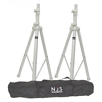 NJS Njs White Speaker Stand en Carry Bag Kit