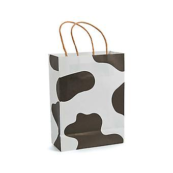 12 Medium Cow Print Kraft Bags for Gifts or Crafts | Kids Party Loot Bags