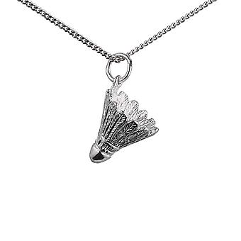 Silver 14x15mm Shuttlecock Pendant with a 1.3mm wide curb Chain 24 inches