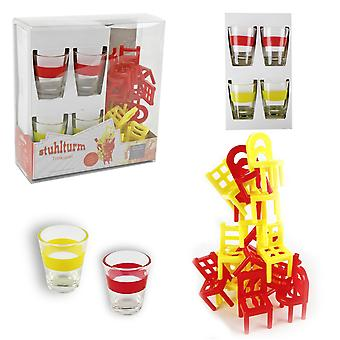 Drinking game chair tower Drunken Tower drinking game, incl. 18 chairs and 4 glasses, in transparent box.
