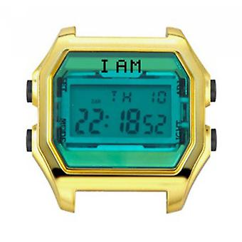 Watch I Am The Watch IAM-006 - Bo tier Aspect M tal dor Green Glass and Black Buttons / Horn 18 mm Set