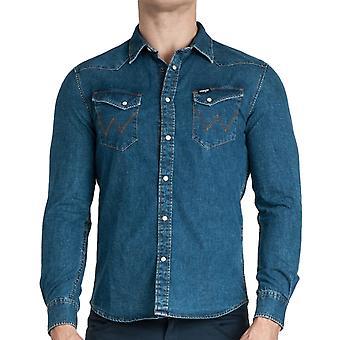 Wrangler Mens LS Western Slim Fit Botão down Denim Shirt Top - Indigo Blue