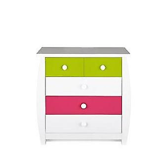 Orlando Fresh 3 + 2 Chest of Drawers RRP £149 Pink/Lime