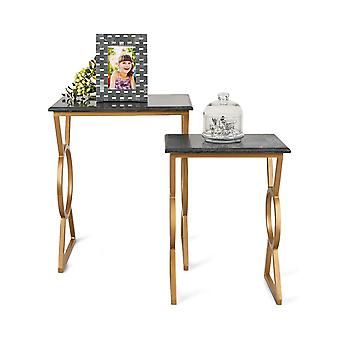 Penguin Home Black Marble Top Coffee Tables with Gold Painted Iron Steel Frame