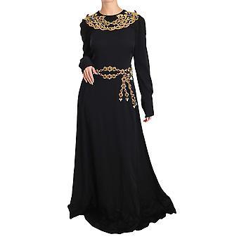 Dolce & Gabbana Black Silk Stretch Gold Crystal Dress