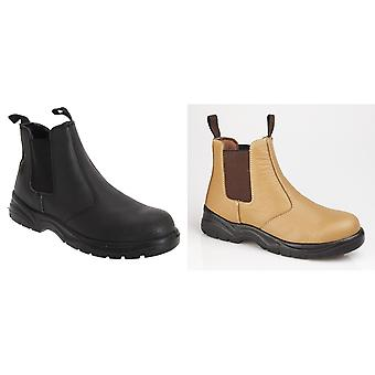 Grafters Mens Grain Leather Chelsea Safety Boots