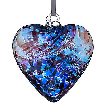 Sienna Glass 8cm Friendship Heart, Purple & Blue