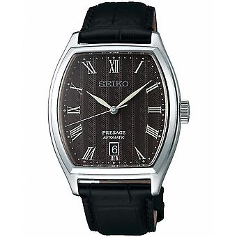 Seiko Watches Srpd07j1 Presage Grey Dial, Silver & Black Leather Automatic Men's Watch