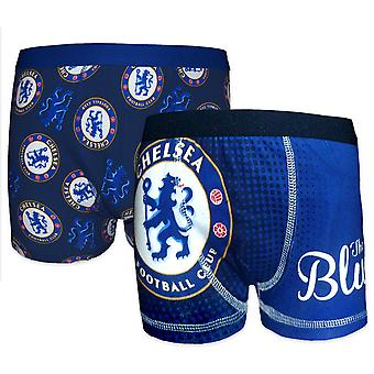 Chelsea FC Official Football Gift 2 Pack Boys Boxer Shorts Blue