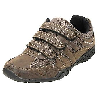 Cushion-Walk Brown Breathable Rip Tape Trainer Shoes