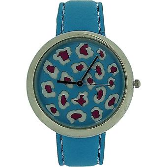Zaza London Leopard Dial Blue Leather Strap Ladies Watch LLB851