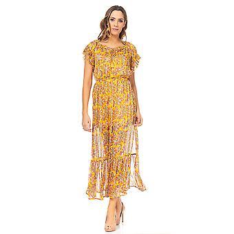 Lang trykt kjole med elastisk krage og midje og ruffles