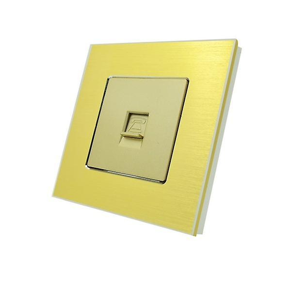 I LumoS Luxury Gold Brushed Aluminium BT RJ11 Telephone Wall Single Socket